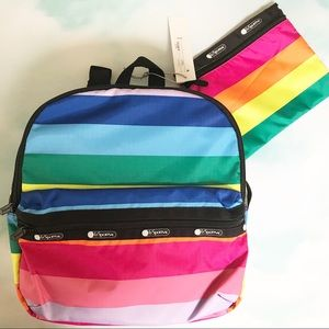 LeSportsac Janis Rainbow Stripe Backpack + Pouch